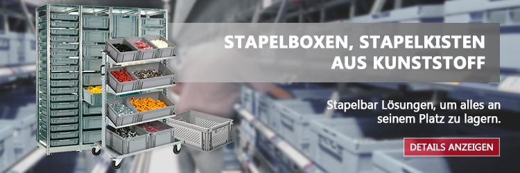 Stapelboxen, Stapelkisten aus Kunststoff