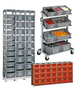 Regale für Stapelboxen aus Kunststoff