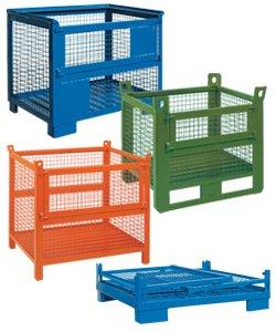 Stahlbehälter, Stapelbehälter und Transportbehälter aus Gitter