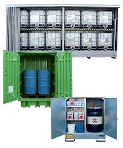 Gefahrstofflager, depots und container in Stahl und Polyethylen
