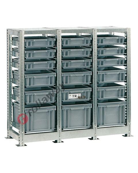 Scaffalatura mm 1090 x 400 H 1010 con 18 cassette in plastica 400 x 300 mm