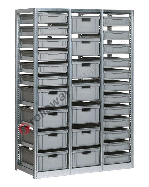 Scaffalatura mm 1390 x 600 H 2010 con 29 cassette in plastica 600 x 400 mm