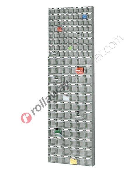 Regal 600 x 113 H 1950 mm mit 144 Schubladen
