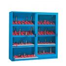 Werkstatt Schrank aus Metall 2046x600 H 2000 mm 2 Polycarbonat-Schiebetüren