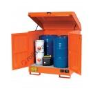Gefahrstoffdepot aus lackiert Stahl 1350 x 1260 x 1540 mm mit Auffangwanne für brennbare Stoffe