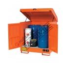 Gefahrstoffdepot aus lackiert Stahl 1350 x 860 x 1570 mm mit Auffangwanne für brennbare Stoffe