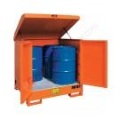 Gefahrstoffdepot aus lackiert Stahl 1350 x 1260 x 1540 mm mit Auffangwanne für 4 Fässer