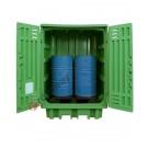 Gefahrstoffdepot aus Polyethylen 1540 x 1000 x 1940 mm mit Auffangwanne für 2 Fässer
