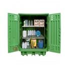 Gefahrstoffdepot aus Polyethylen 1540 x 1000 x 1940 mm mit Auffangwanne und Regale