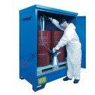 Gefahrstoffdepot aus verzinkt lackiert Stahl 1360 x 920 x 1845 mm mit Auffangwanne für 2 Fässer