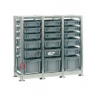Regal 1090 x 400 H 1010 mm mit 18 Stapelboxen 400 x 300 mm