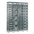 Regal 1440 x 400 H 2010 mm mit 44 Stapelboxen 400 x 300 mm