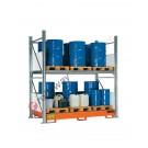 Gefahrstoffregal mit Auffangwanne für 16 Fässer 200 lt vertikal 2 Etagen