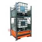 Gefahrstoffregal mit Auffangwanne für 2 IBC von 1000 lt 2 Etagen