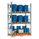 Gefahrstoffregal mit Auffangwanne für 24 Fässer 200 lt vertikal 3 Etagen
