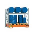 Gefahrstoffregal mit Auffangwanne für 3 Fässer 200 lt horizontal und 3 Fässer 200 lt vertikal