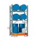 Gefahrstoffregal mit Auffangwanne für 4 Fässer 200 lt horizontal und 2 Fässer 200 lt vertikal