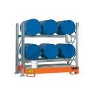 Gefahrstoffregal mit Auffangwanne für 6 Fässer 200 lt horizontal 2 Etagen