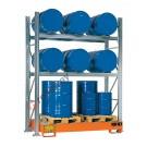Gefahrstoffregal mit Auffangwanne für 6 Fässer 200 lt horizontal und 3 Fässer 200 lt vertikal