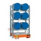 Gefahrstoffregal mit Auffangwanne für 6 Fässer 200 lt horizontal 3 Etagen
