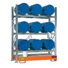 Gefahrstoffregal mit Auffangwanne für 9 Fässer 200 lt horizontal 3 Etagen