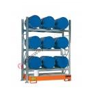 Gefahrstoffregal mit Auffangwanne für 9 Fässer 60 lt horizontal 3 Etagen