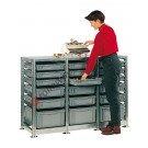 Regal 1390 x 600 H 1010 mm mit 18 Stapelboxen 600 x 400 mm