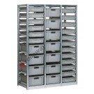 Regal 1390 x 600 H 2010 mm mit 29 Stapelboxen 600 x 400 mm