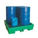 Auffangwanne Kunststoff 260 Liter mit Gitterrost 1320 x 1320 x 270 mm für 4 Fässer