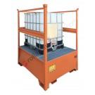 IBC Auffangwanne 1000 Liter aus Lackiert Stahl mit Gitterrost und Stützwänden 1350 x 1660 x 1930 mm