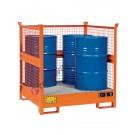 Auffangwanne mit Gitterrost und Maschenwänden aus Lackiert Stahl 1350 x 1260 x 1430 mm für 4 Fässer
